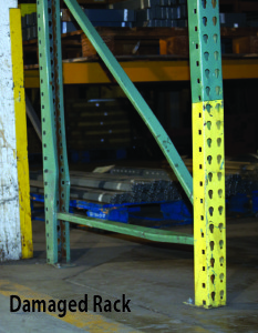 damaged pallet rack needing rack repair