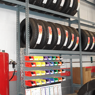 Muffler Racks with Color Coded Bin System for Small Parts Storage