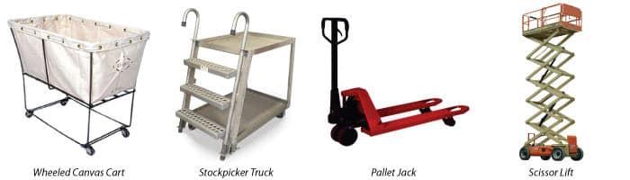 Material Handling Solutions: cart, stockpicker truck, pallet jack, scissor lift
