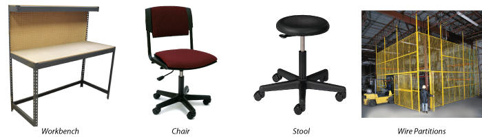 Office & Industrial Furnishing Solutions: workbench, chair, stool, partitions