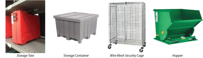 Material Handling Storage Solutions: tote, container, wire mesh security cage, hopper