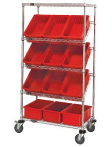 Backroom Storage Gravity Flow Shelving with Bins