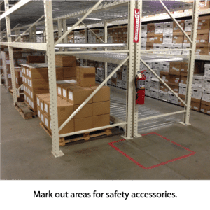 Mark out areas for safety accessories.