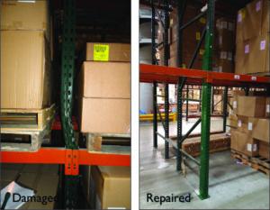 repaired pallet rack